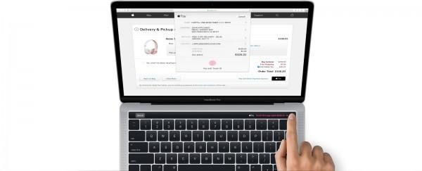 新款筆電Macbook Pro,在昨天釋出的蘋果電腦作業系統macOS 10.12.1 (代碼Sierra)中,流出Apple Pay操作示意圖,證實將採用指紋辨識Touch ID來進行電子支付。(翻攝macOS Sierra)