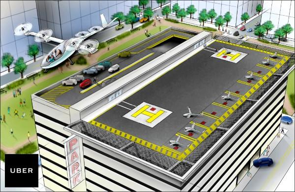 交通網路公司「優步」(Uber)27日發表白皮書,揭示「城市空中運輸」藍圖,圖為優步公布的垂直起降機挑起「叫機」服務大樑的想像圖。(路透)
