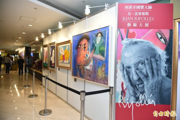 西班牙藝術大師皇.雷普耶斯,今天起在高雄地標君鴻酒店辦展,要把最好作品給台灣人一起欣賞。(記者張忠義攝)