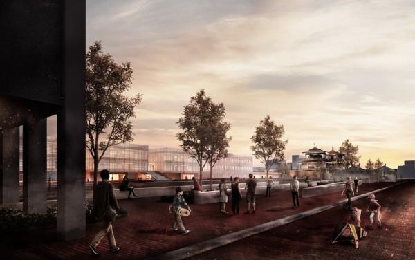 赤崁文化園區再造示意圖,赤崁街規劃人行徒步區。(記者洪瑞琴翻攝)