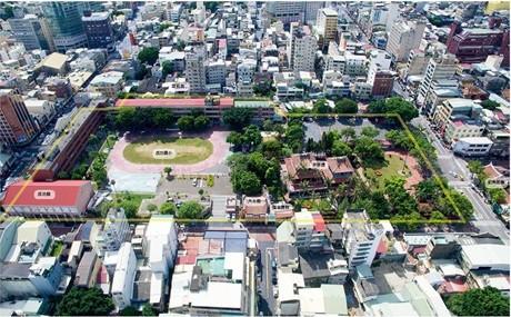 赤崁文化園區與成功國小空拍圖。(圖由文化局提供)