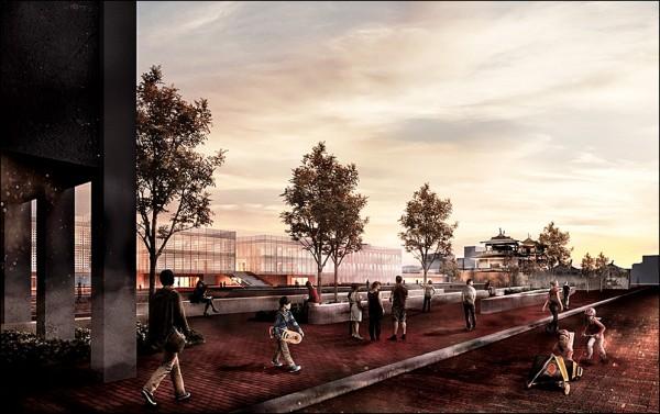 赤崁文化園區再造示意圖,赤崁街規劃人行徒步區。 (記者洪瑞琴翻攝)