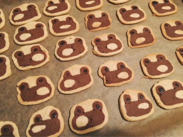 有位網友想要烤出可愛的小熊餅乾,出爐後卻變成一堆青蛙餅乾。(圖擷自PTT)