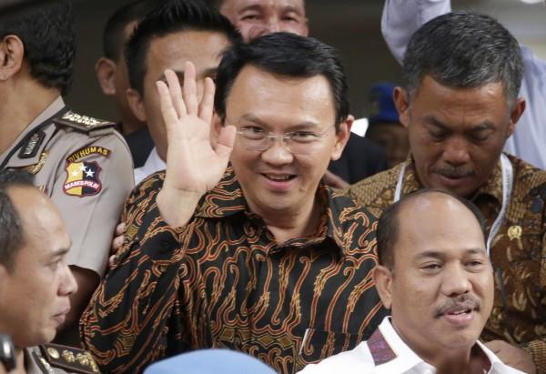 印尼雅加達華裔省長鍾萬學今日為「褻瀆可蘭經案」接受偵訊。(美聯社)