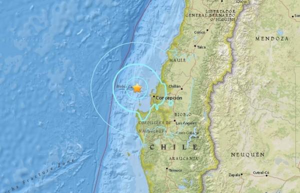 台灣時間8日中午12時55分,智利沿海發生芮氏規模5.9強震。(圖擷取自美國地質調查所網站)