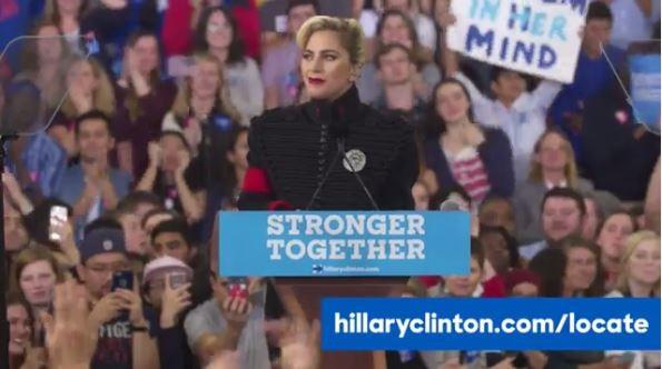 女神卡卡現身造勢大會力挺希拉蕊。(圖片擷取自「Hillary Clinton」臉書)