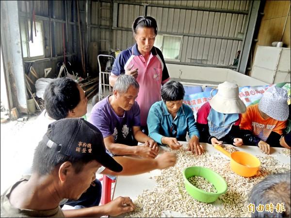 身障農民王貴仙(中)以自己親身經歷,教導身障者務農,鼓勵他們自食其力;也勉勵身障者不要看輕自己。(記者陳燦坤攝)