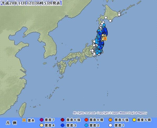 日本氣象廳資料顯示,東北地區發生規模5.8地震。(圖取自日本氣象廳)