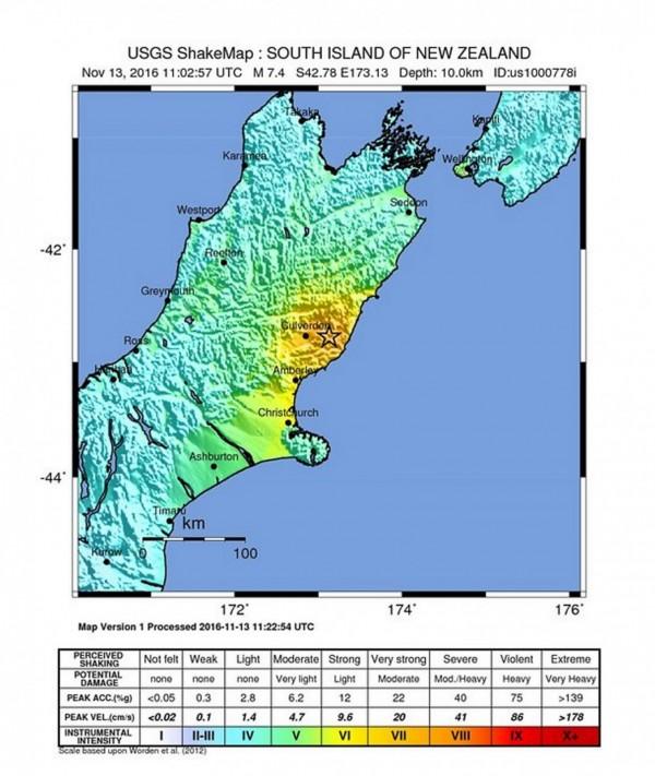 紐西蘭發生地震。(歐新社)