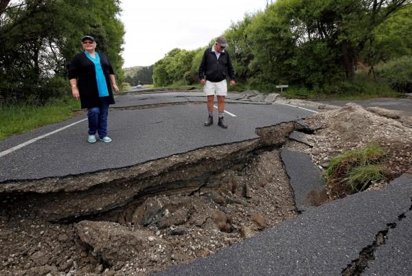 這起規模7.8的強震,是紐西蘭觀測史上第二大的地震。(路透)