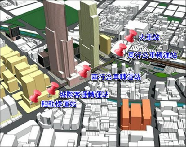 「台中大車站計畫」示意圖。(台中市政府都發局提供)