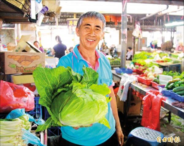 菜販表示高麗菜價格仍高,品質好的一顆要價近三百元。(記者陳冠備攝)