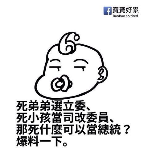 藍營支持者所組成的臉書粉絲團就以「死小孩可以當司改委員」,稱小燈泡媽媽在消費小燈泡。(圖擷自「寶寶好累」臉書粉絲團)