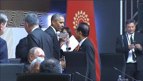 美國總統歐巴馬主動與宋楚瑜握手。(中華台北代表團提供)