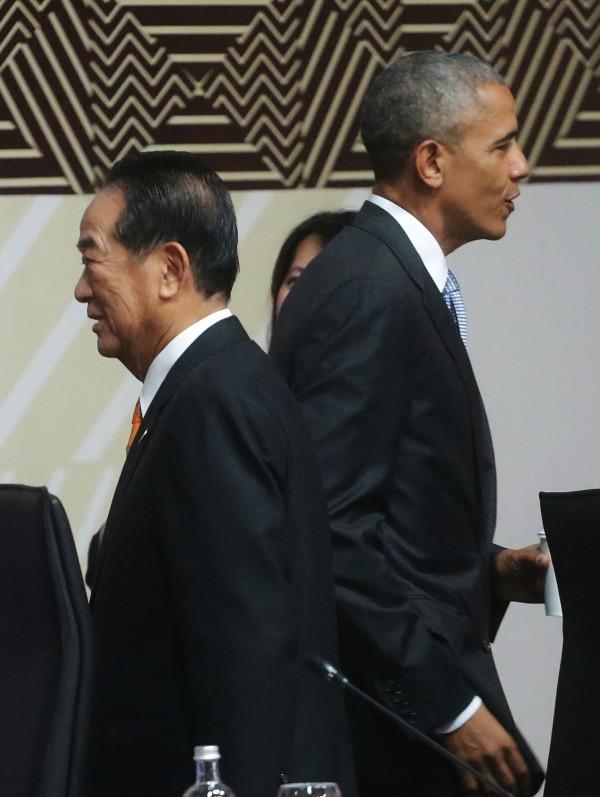 宋楚瑜與歐巴馬。(中華台北代表團提供)