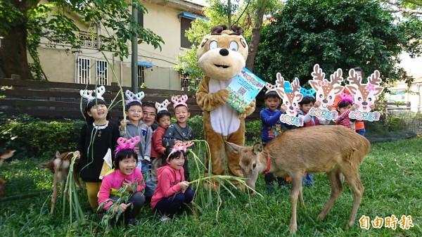 鹿港鎮立幼兒園今天先來親餵小鹿鹿!(記者劉曉欣攝)