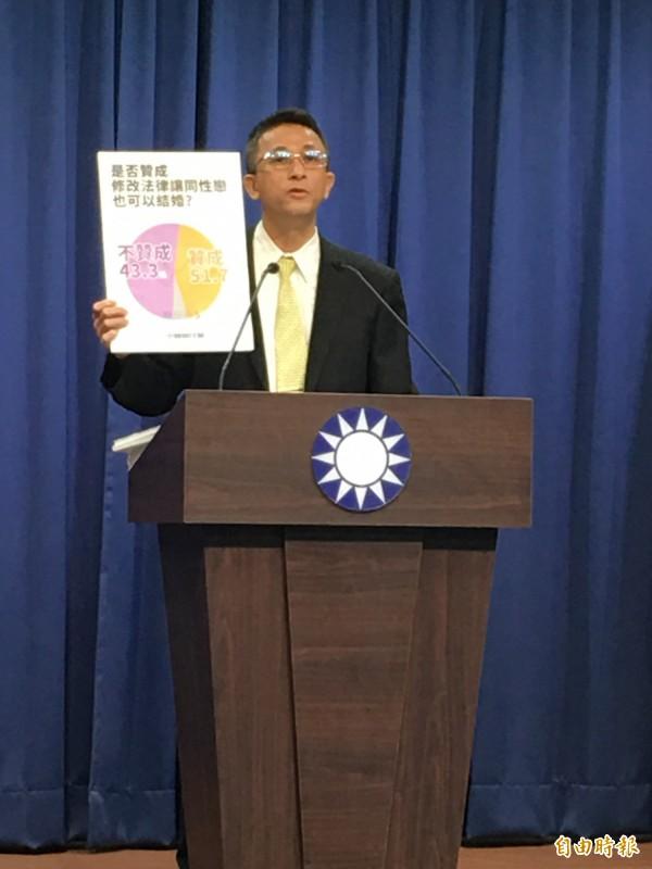 在同性婚姻議題上,國民黨文傳會副主委胡文琦表示,國民黨的立場是希望廣徵民意。(記者林良昇攝)