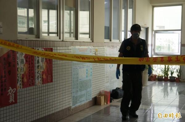 嘉南藥理大學今日上午發生女學生遭到化學物質攻擊事件,警方不到5個小時就抓到洪姓嫌犯。(記者林孟婷攝)
