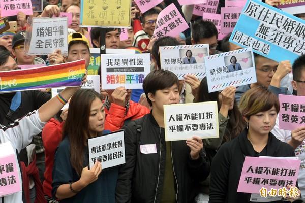 挺同志團體28日在立法院外召開「反專法、要平權,修民法、爭平等」聯合記者會。(記者張嘉明攝)