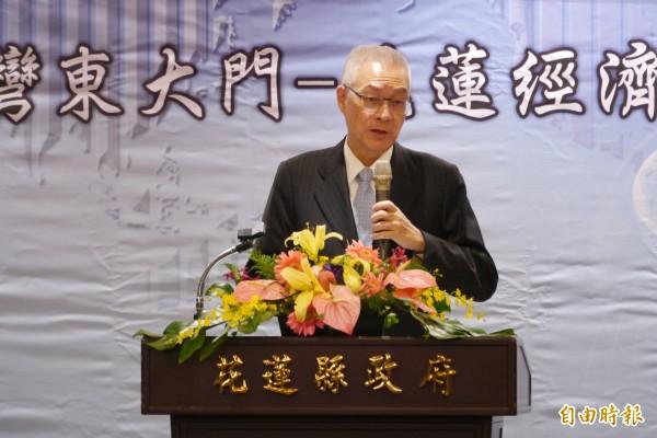 前副總統吳敦義出席台灣東大門花蓮經濟觀光高峰論壇,會前痛批黨產會凌駕一切。(記者王峻祺攝)