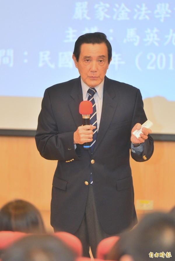 前總統馬英九到東吳大學嚴家淦法學講座進行「我國死刑政策與國際法」演講。對於蘇建和案,至今他還不敢說蘇建和案是冤案。(記者王藝菘攝)
