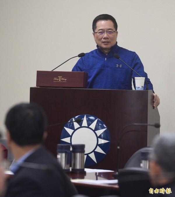 國民黨政策會執行長蔡正元,30日出席國民黨中常會,並就其美國行進行報告。(記者叢昌瑾攝)