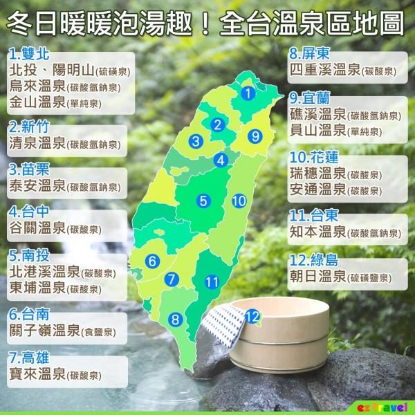 易遊網整理全台各地知名溫泉。(易遊網提供)