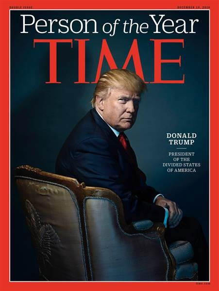 川普成為2016年度風雲人物。(圖擷取自《TIME》)