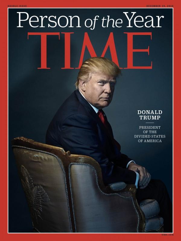 美國總統當選人川普獲選為《時代》雜誌2016風雲人物,他認為此事是「非常、非常大的榮幸」,「象徵很多意義,尤其我從小看時代雜誌長大。」(美聯社)
