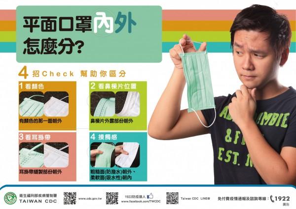 針對網傳健康的人戴口罩應將綠色面朝內,衛福部食藥署澄清這是錯誤的。(圖擷自疾管署網站)
