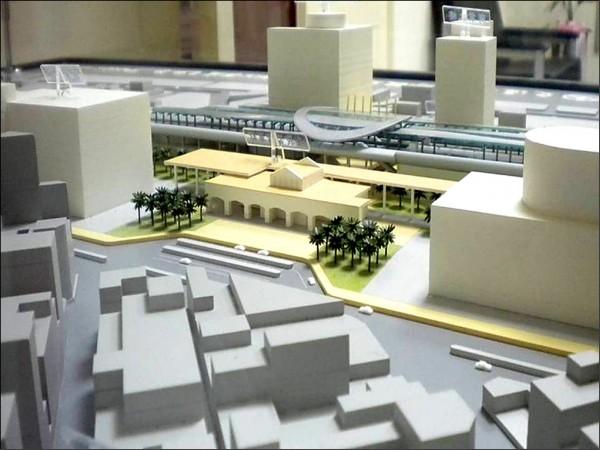 嘉義市鐵路高架化模擬圖。(交通部鐵路改建工程局提供)