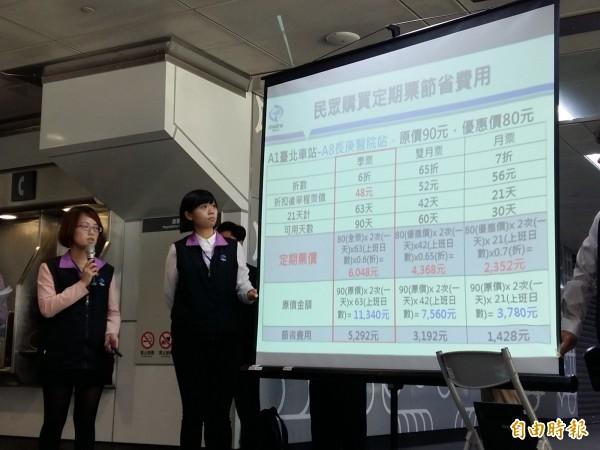 桃捷公司今日刻意選在桃園、新北交界的A8站,舉行票價說明會。(記者鄭淑婷攝)
