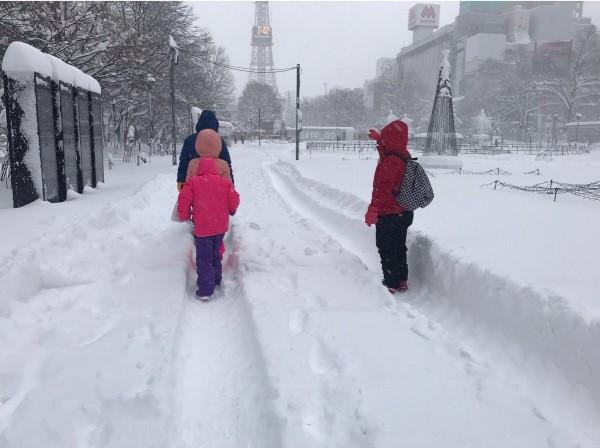 受冬季低氣壓影響,日本北海道自昨晚下起暌違29年的大雪,到今下午積雪已達65公分,嚴重影響地區交通。(圖擷自推特)