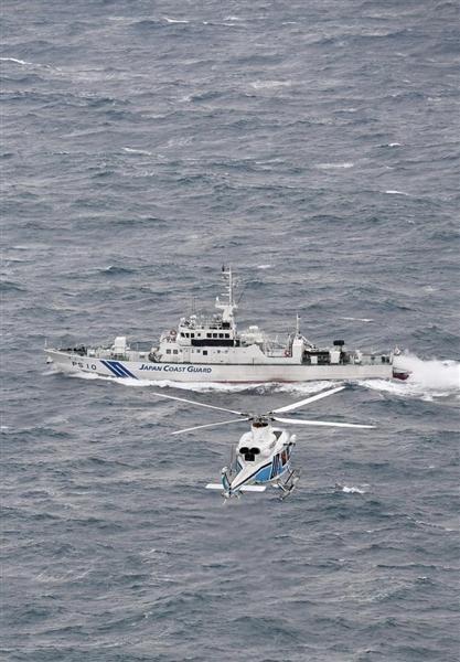 日本海上保安廳正在全力搜救失蹤船員。(圖擷自產經新聞)