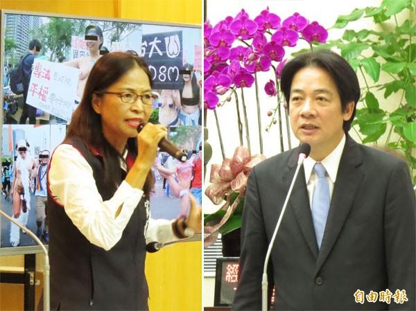 台南市議員王家貞(左)昨針對婚姻平權議題提出質詢,賴清德首度公開表態。(記者蔡文居攝)