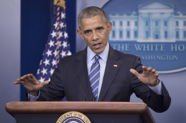 美國總統歐巴馬在可能是8年任內最後一次白宮記者會中,罕見深入談到台灣。(歐新社)