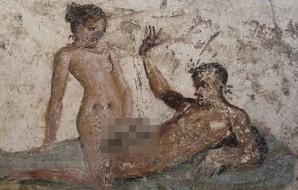 近日有加拿大研究團隊在龐貝的一家古妓院進行壁畫研究,揭露這些妓院壁畫可能是「服務簡介」。(圖截自每日郵報)