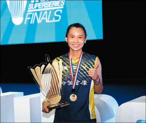 世界球后戴資穎成功複製兩年前奪冠戲碼,昨在超級羽球系列賽年終賽冠軍戰,以直落二拍下世界排名第五的南韓成池鉉,生涯二度在年終賽封后。(BadmintonPhoto提供)