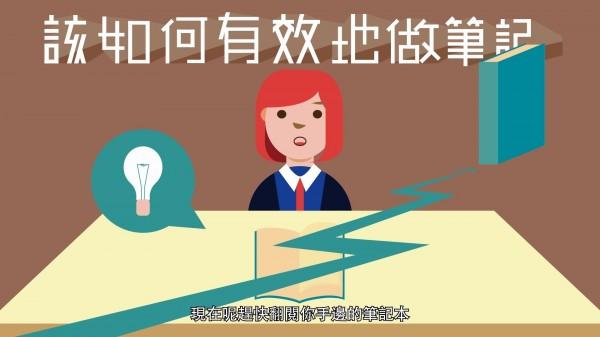 NIICO教學平台上利用動畫影片,教學生如何有效做筆記、做好時間管理等,希望讓剛進大學的新鮮人從基礎做好,才能累積學業豐碩果實。(取自NIICO課程影片)