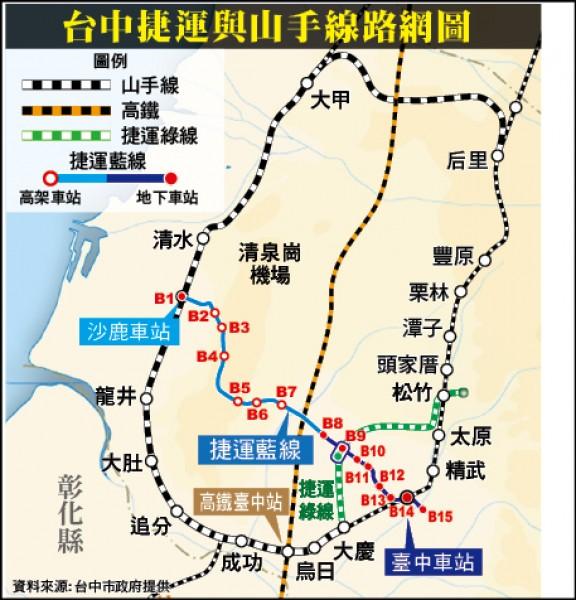 台中捷運與山手線路網圖