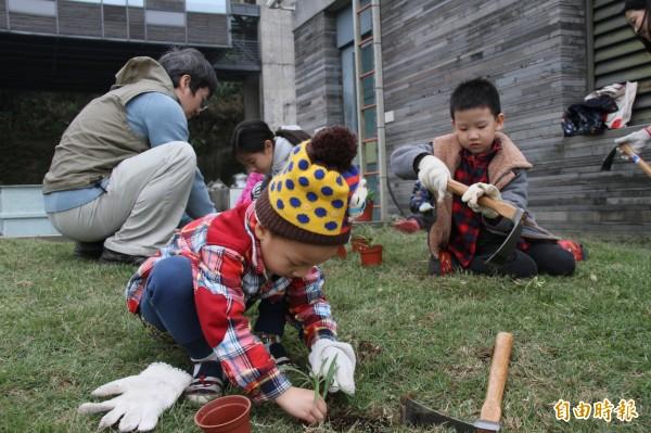 雖然小小孩不一定當過園丁,不過對他們來說,挖土這件事可不陌生,種下台灣百合種苗的架式十足。(記者林欣漢攝)