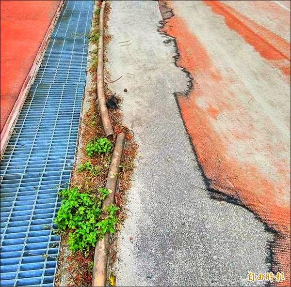 南投國中及漳和國小共用的運動場,跑道人工草皮嚴重受損,邊條也脫落,危及學童運動安全。(記者謝介裕攝)