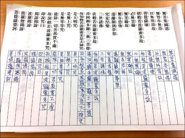 楊姓毒販每天抄寫心經,讓家人以為他改過向善,他在自己的記事本上塗鴉,寫著「有媽的孩子像個寶」。(記者劉慶侯翻攝)