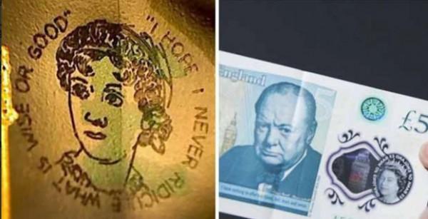 微型珍奧斯汀肖像就刻畫在大笨鐘及英國前首相邱吉爾頭像旁。(圖擷自推特)