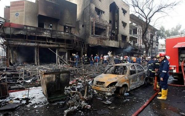巴格達市場爆炸,造成多人死傷,伊斯蘭國宣稱對此次襲擊事件負責。(圖擷自twitter)