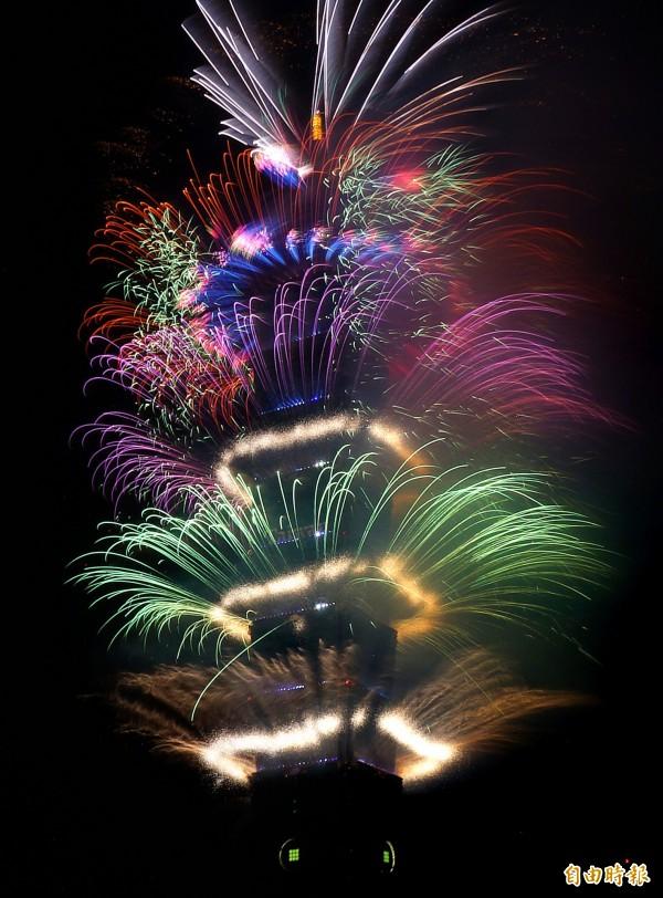 「台北最High新年城-2017跨年晚會」今晚盛大登場,市長柯文哲說,歲末年終整個信義區充滿了過節的氣氛,台北市是一個有溫度的城市。圖為台北101的跨年煙火。(記者方賓照攝)