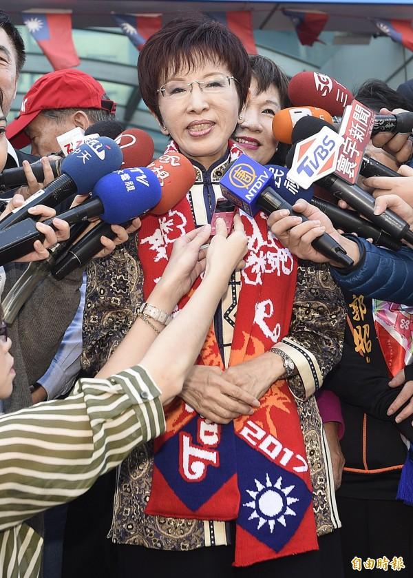 國民黨主席洪秀柱認為台北市長柯文哲總是胡說八道,所以國民黨一定要把台北市拿回來。(資料照,記者陳志曲攝)