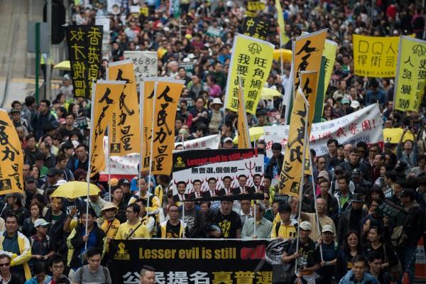 抗議者在香港的新年民主遊行。(歐新社)