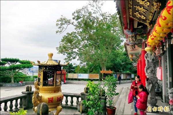 芝山巖惠濟宮位於五十公尺高的山丘,香客絡繹不絕。 (記者郭安家攝)