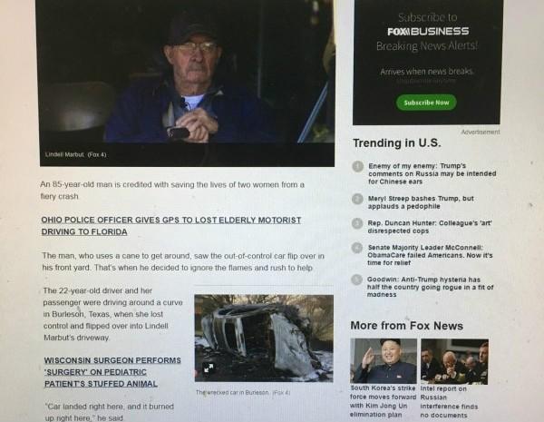 85歲高齡老翁馬布特,英勇拿起拐杖,打破擋風玻璃,與看護合力將駕駛與乘客救出車外。(翻攝自foxnews)